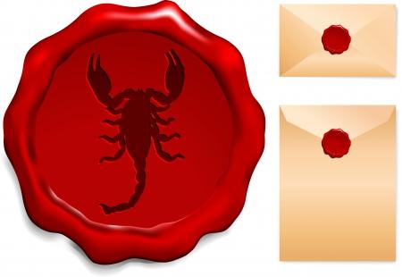 Scorpion Wax SealOriginal Vector Illustration Stock Vector - 22399191