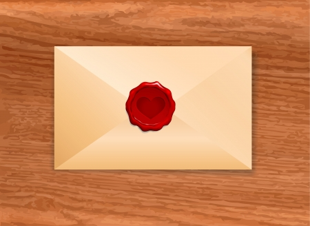 old envelope: Envelope with Wax Seal Heart Origianl Vector Illustration Wax Seal Letter Stamp Ideal for Old Style Concept