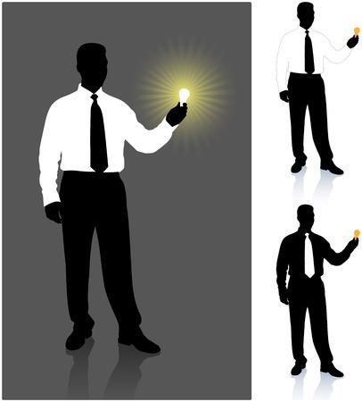 lit collection: Businessman with lightbulb set Original Vector Illustration Businessmen Concept