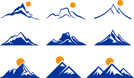 mountain ranges: Mountain Icons Original Vector Illustration Nsture Concept