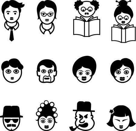 multi cultural: Set of Multi Cultural Faces Original Vector Illustration Sets of faces Illustration