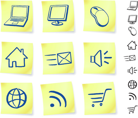 technology on post it notes original vector illustration Post it note sketches  black and white version included  Vector