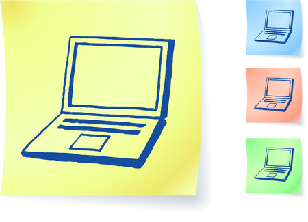 laptop screen: Hand-drawn laptop computer on sticky note original vector illustration Post it note sketches  Three color version included