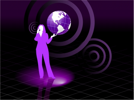 Original Vector Illustration: Young business woman global communication concept AI8 compatible Vector