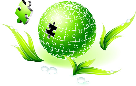 unfinished: Incomplete Natural Green Globe Puzzle Original Vector Illustration Incomplete Globe Puzzle Ideal for Unity Concept