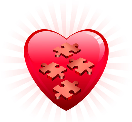 Incomplete Heart Puzle Original Vector Illustration Incomplete Puzzle Ideal for Valentines day Concept Çizim
