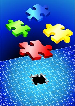 unfinished: Incomplete Puzzle Set Original Vector Illustration Incomplete Puzzle Ideal for Business Concept Illustration