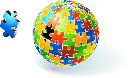 Incomplete Multi Colored Globe Puzzle Original Vector Illustration Incomplete Globe Puzzle Ideal for Unity Concept Çizim