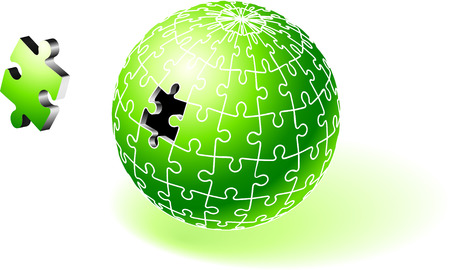 missing puzzle piece: Incomplete Green Globe Puzzle Original Vector Illustration Incomplete Globe Puzzle Ideal for Unity Concept Illustration