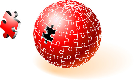 incomplete: Incomplete Red Globe Puzzle Original Vector Illustration Incomplete Globe Puzzle Ideal for Unity Concept Illustration
