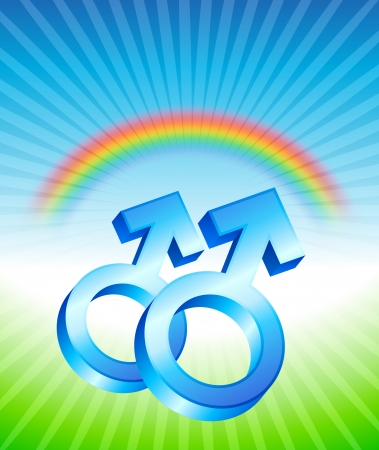 couple lit: Gay Relationship Gender Symbols Original Vector Illustration Rainbow Background Ideal for Gay Concept