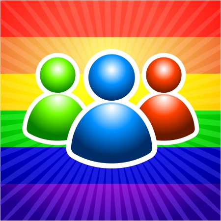 User Group with Gender Symbols Original Vector Illustration Rainbow Background Ideal for Gay Concept