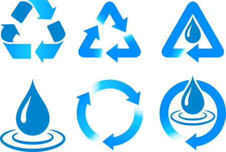 Blue Recycling  Original Vector Illustration Nsture Concept