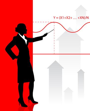 Businesswoman presenting Graph Original Vector Illustration