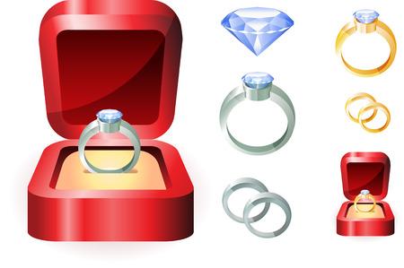 Diamond Ring Set Originele vectorillustratie Eenvoudige afbeelding Illustratie