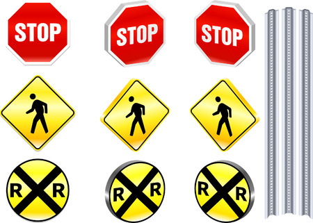 railroad crossing: Warning Road Signs Original Vector Illustration Simple Image Illustration