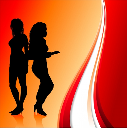 rd: Original Vector Illustration: sexy women dancing on abstract rd background AI8 compatible