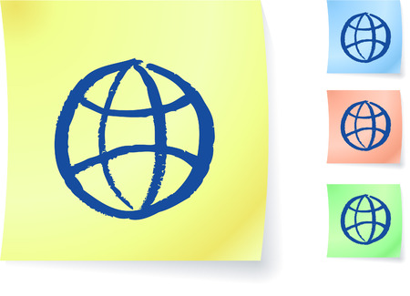 digitally generated image: Globe graphic on sticky note original vector illustration Post it note sketches  Three color version included  Illustration