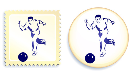 male soccer (football) player on stamp and button set