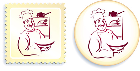 Chef on Button and Stamp SetOriginal Vector IllustrationStamp and Button Set