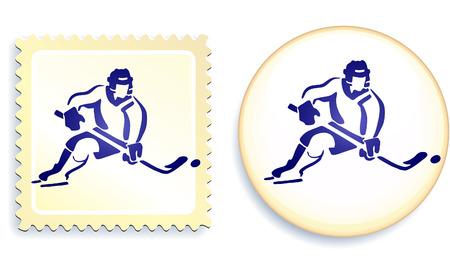 Hockeyspeler op de knop en stempel Set Originele vectorillustratie Stamp and Button Set