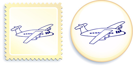 Airplane on Button and Stamp Set Original Vector Illustration Stamp and Button Set