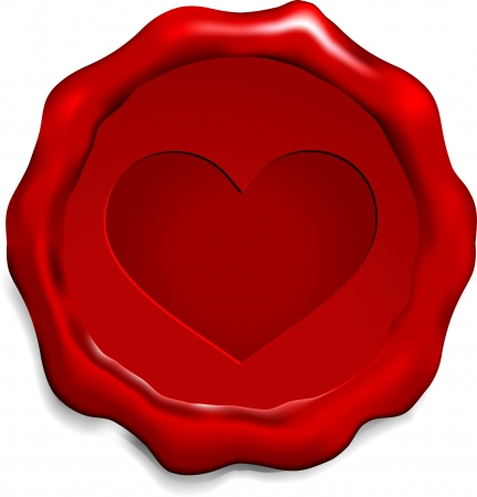Heart on Was Seal Origianl Vector Illustration Wax Seal Letter Stamp Ideal for Old Style Concept