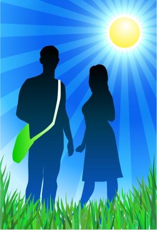 Oorspronkelijke vector illustratie: Traveling paar op zonnige zomer achtergrond AI8 compatibel Stockfoto - 22399484