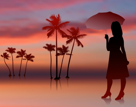 sexy umbrella: Original Vector Illustration: sexy woman on sunset background with trees AI8 compatible