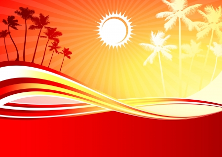 compatible: Original Vector Illustration: sunny day with palm trees AI8 compatible