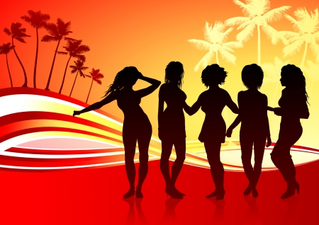 Sexy Young Women on Abstract Tropical Background Original Vector Illustration Young Women Dancing Ideal for Party Concept Ilustração