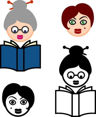 Female Heads Original Vector Illustration Sets of faces Illustration