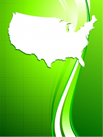 Original Vector Illustration: USA map on green background
