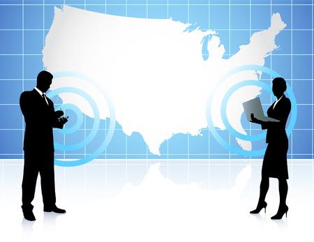 Businessman and Businesswoman Communication with Map Original Vector Illustration Ilustração
