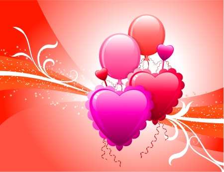Balloons on Red BackgroundOriginal Vector IllustrationWave Internet Background Stock Vector - 22399543