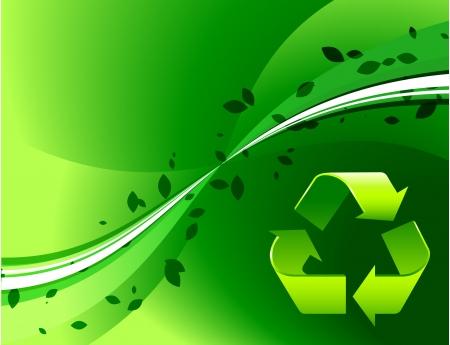 Recycle Symbol on Green Background Original Vector Illustration Wave Internet Background Illusztráció