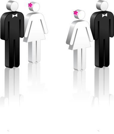 couple lit: Stick Figure Couples Original Vector Illustration Stick Figure Couples Ideal for Marriage Concept Illustration