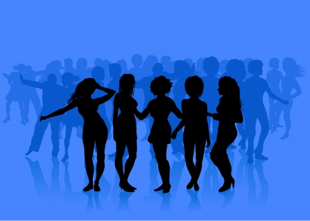 Sexy Young Women on Blue Background Original Vector Illustration Young Women Dancing Ideal for Party Concept Ilustrace