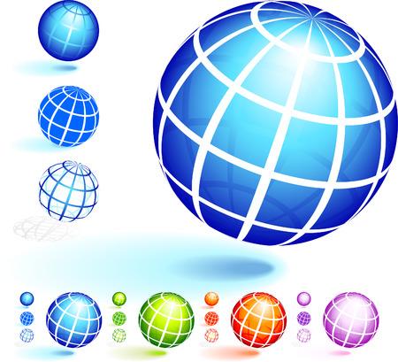 Wire Frame Globe CollectionOriginal Vector Illustration