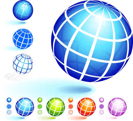 Wire Frame Globe Collection Original Vector Illustration