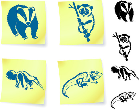 Animal drawings on post it notes original vector illustration 6 color versions included