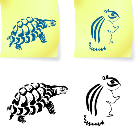 turtle and chipmonk drawings on post it notes original vector illustration 6 color versions included