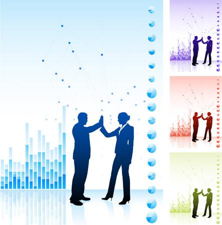 Original Vector Illustration: business team high five on business chart backgroundAI8 compatible Vettoriali