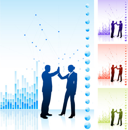 Original Vector Illustration: business team high five on business chart background