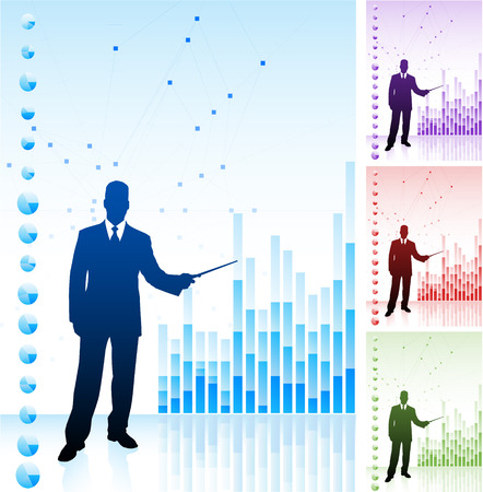 Original Vector Illustration: Business man on background with financial chartsAI8 compatible Stock fotó - 22418851
