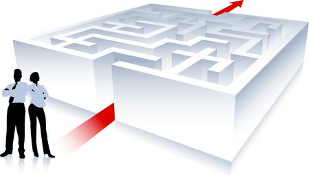 compatible: Illustration originale de vecteur : Business �quipe sur fond avec le labyrinthe AI8 compatible