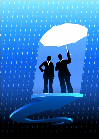 Original Vector Illustration: Business insurance background with two people AI8 compatible