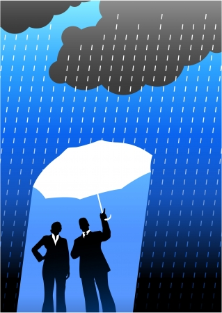 Original Vector Illustration: Business insurance background with two people AI8 compatible Vector