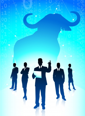 Bull market concept with binary codeOriginal Vector IllustrationWild Bull on unique creative backgroundIdeal for stock market concepts Stock Vector - 22418874