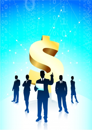 Original Vector Illustration: Business team background with Dollar sign AI8 compatible